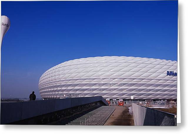 Geometric Image Greeting Cards - Soccer Stadium In A City, Allianz Greeting Card by Panoramic Images