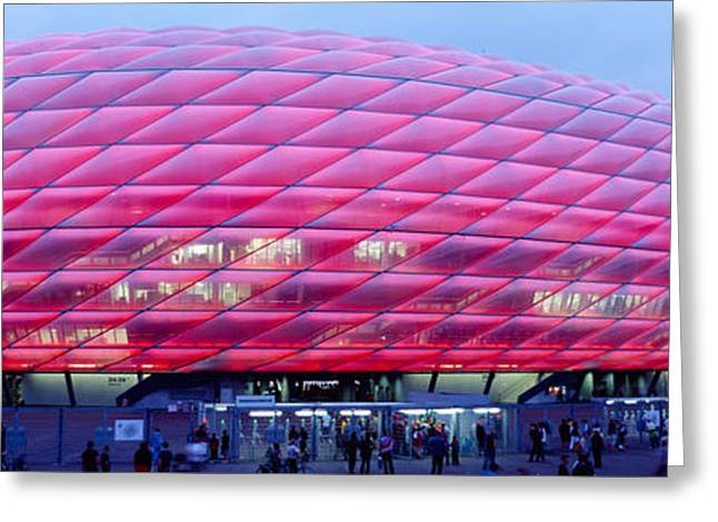 Geometric Image Greeting Cards - Soccer Stadium Lit Up At Dusk, Allianz Greeting Card by Panoramic Images