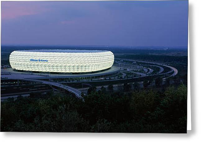 Team Sport Greeting Cards - Soccer Stadium Lit Up At Nigh, Allianz Greeting Card by Panoramic Images