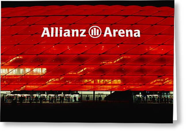 Geometric Shape Greeting Cards - Soccer Stadium Lit Up At Night, Allianz Greeting Card by Panoramic Images