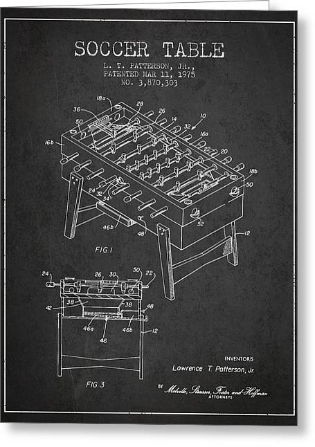 Sports Digital Art Greeting Cards - Soccer Table Game Patent from 1975 - Charcoal Greeting Card by Aged Pixel