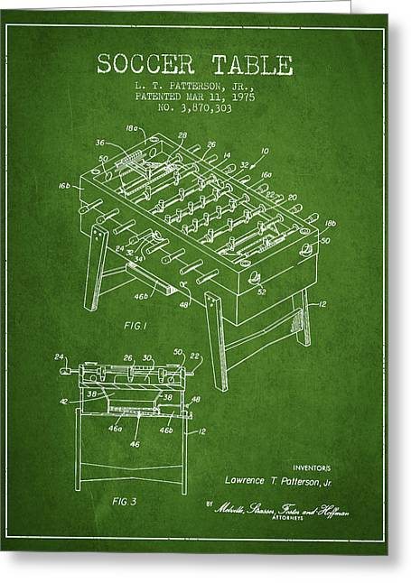 Sports Digital Art Greeting Cards - Soccer Table Game Patent from 1975 - Green Greeting Card by Aged Pixel