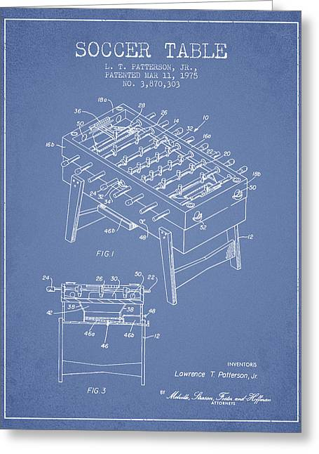 Sports Digital Art Greeting Cards - Soccer Table Game Patent from 1975 - Light Blue Greeting Card by Aged Pixel