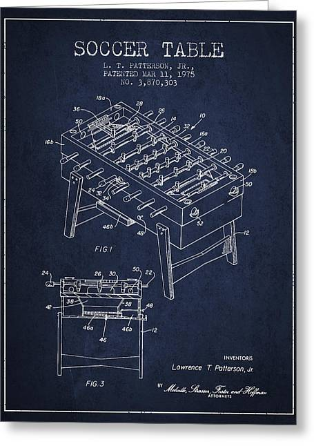 Sports Digital Art Greeting Cards - Soccer Table Game Patent from 1975 - Navy Blue Greeting Card by Aged Pixel