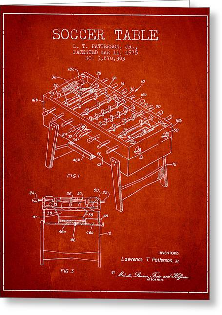 Soccer Table Game Patent From 1975 - Red Greeting Card by Aged Pixel