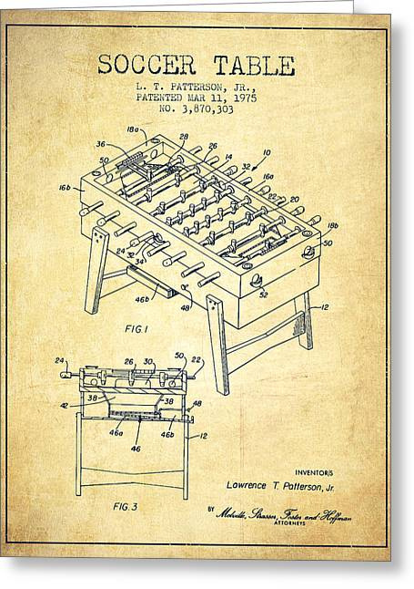 Sports Digital Art Greeting Cards - Soccer Table Game Patent from 1975 - Vintage Greeting Card by Aged Pixel