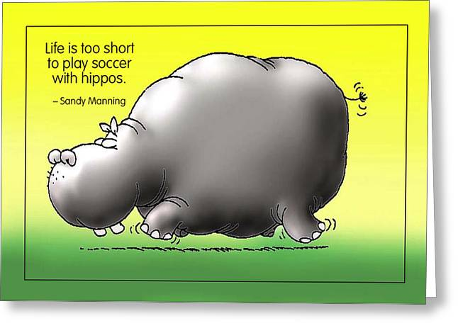 Mockery Greeting Cards - Soccer with Hippos Greeting Card by Mike Flynn