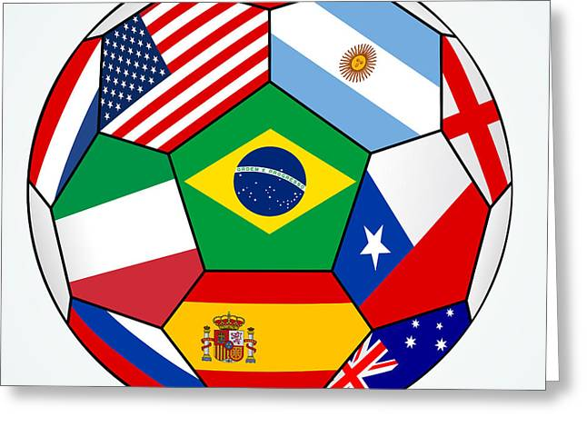 soccer with various flags - Brazil 2014 Greeting Card by Michal Boubin