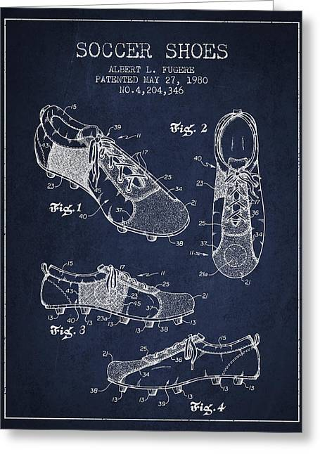 Soccershoe Patent From 1980 Greeting Card by Aged Pixel