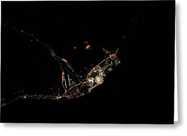 Sochi Olympic Park At Night From Space Greeting Card by Nasa