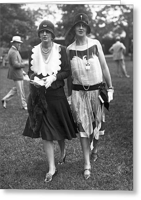 Society Women At Belmont Park Greeting Card by Underwood Archives