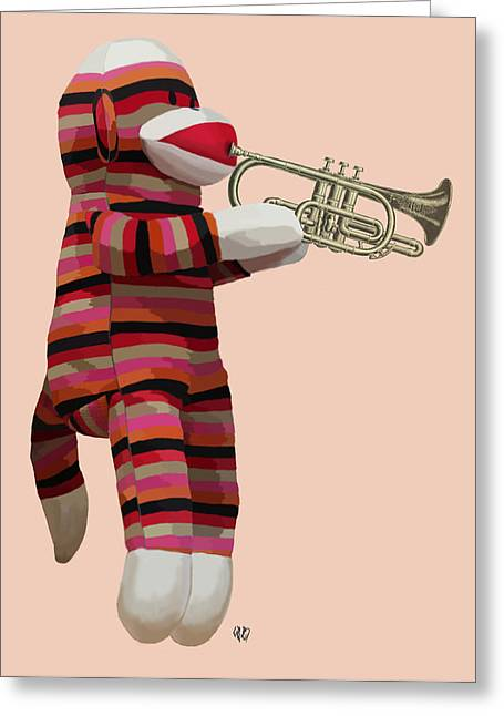 Sock Monkey And Trumpet Greeting Card by Kelly McLaughlan