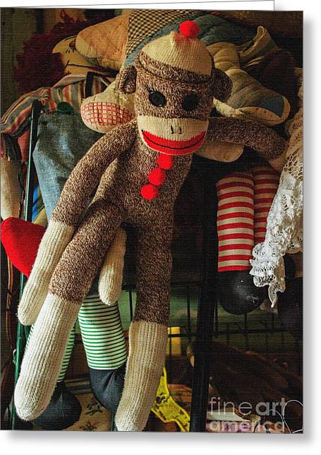 Toy Shop Greeting Cards - Sock Monkey Greeting Card by Roger Reeves  and Terrie Heslop