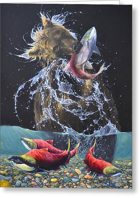 Salmon Paintings Greeting Cards - Sockeye Greeting Card by James Corwin
