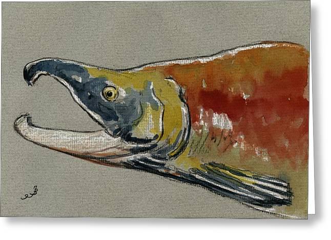 Sockeye salmon head study Greeting Card by Juan  Bosco