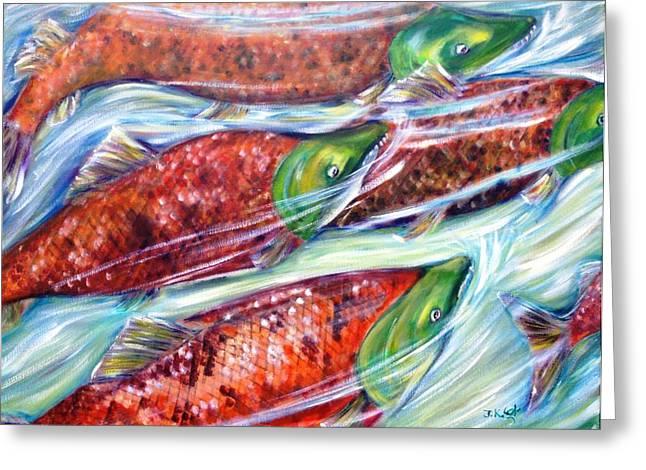 Salmon Paintings Greeting Cards - Sockeye Salmon Greeting Card by Jennifer Kwon