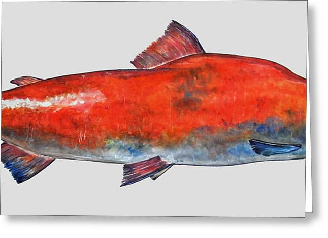 Sockeye Salmon Greeting Card by Juan  Bosco