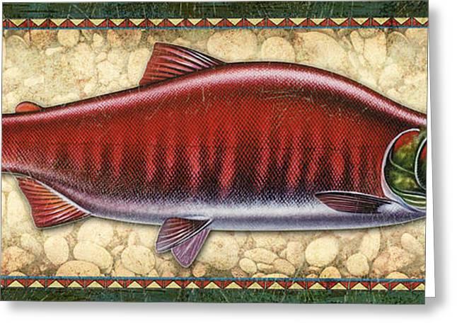 Salmon Paintings Greeting Cards - Sockeye Salmon Spawning Panel Greeting Card by JQ Licensing