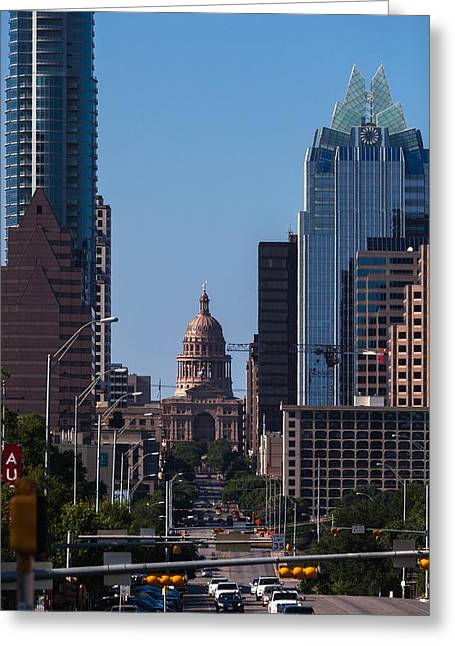 Frost Bank Building Greeting Cards - So Co View of the Texas Capitol Greeting Card by Ed Gleichman
