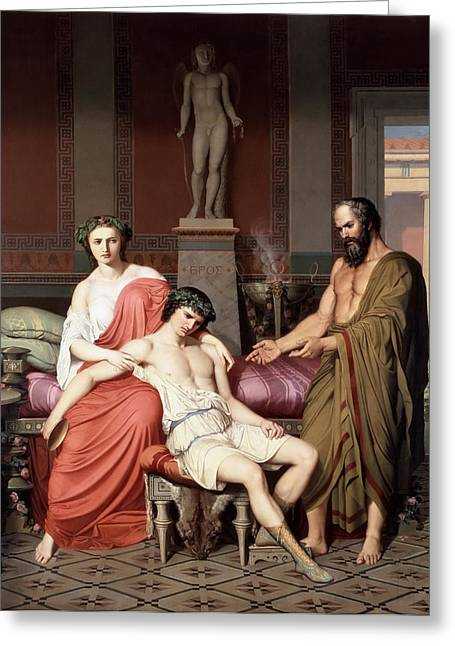 The Houses Greeting Cards - Socrates reprimanding Alcibiades in the house of a courtesan Greeting Card by German Hernandez Amores