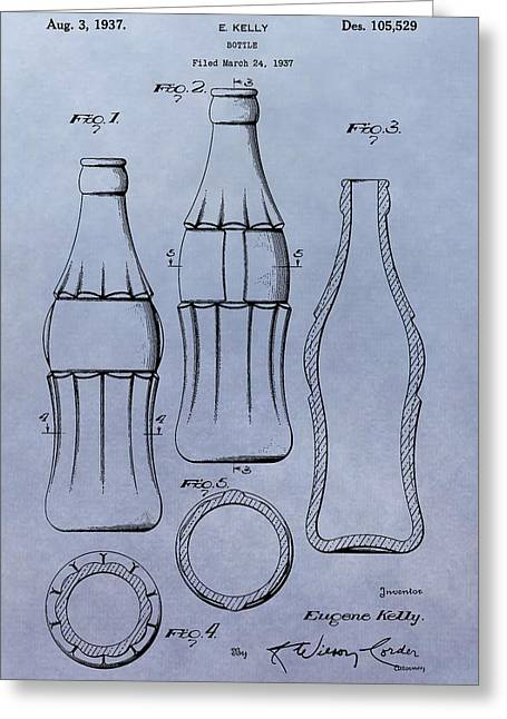Bottle Cap Greeting Cards - Soda Bottle Patent Greeting Card by Dan Sproul