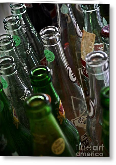 Bottles On A Shelf Greeting Cards - Soda Bottles for Sale  Greeting Card by JW Hanley