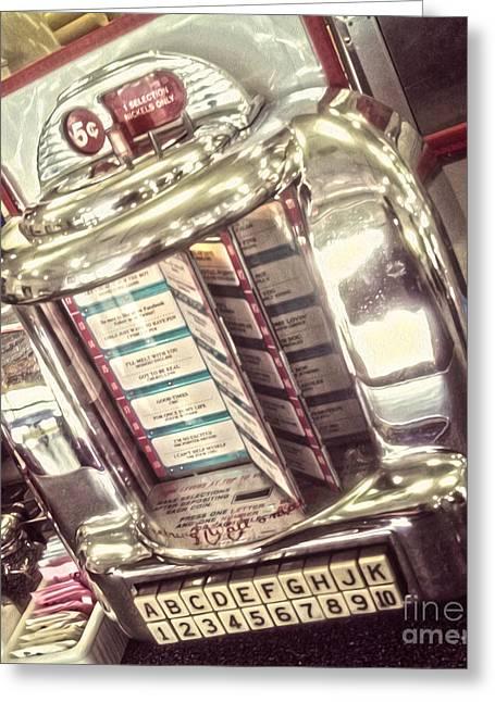 Soda Fountain Juke Box Greeting Card by Gregory Dyer