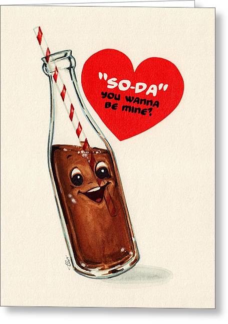 1950s Mixed Media Greeting Cards - Soda Pop Valentine Greeting Card by Kelly Gilleran