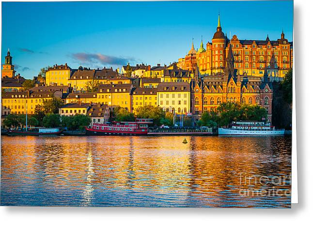 Picturesque Greeting Cards - Sodermalm Skyline Greeting Card by Inge Johnsson