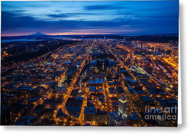 Sodo Seattle Sunrise Greeting Card by Mike Reid