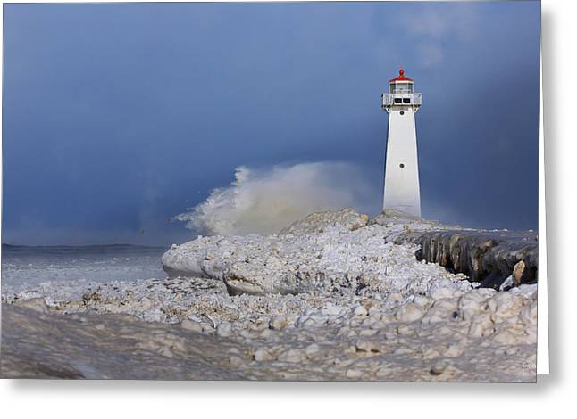 Best Sellers -  - Winter Storm Greeting Cards - Sodus Bay Lighthouse Greeting Card by Everet Regal