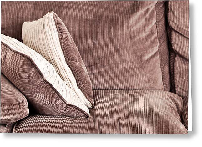 Cushion Photographs Greeting Cards - Sofa cushions Greeting Card by Tom Gowanlock