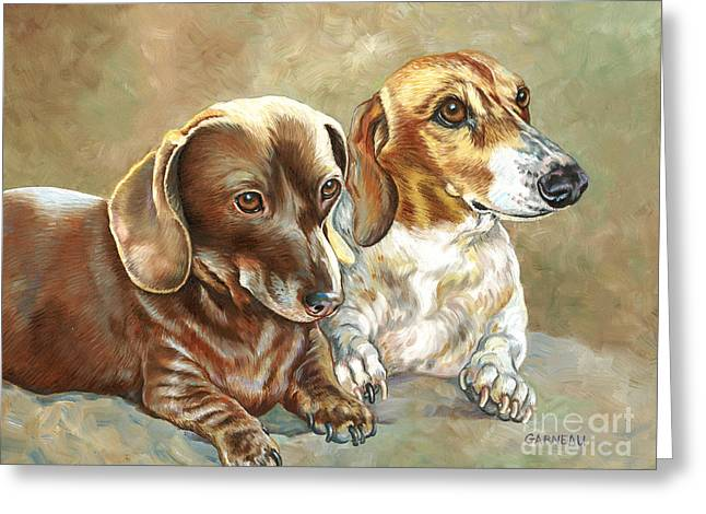 Doxie Greeting Cards - Soffie and Woody Greeting Card by Catherine Garneau