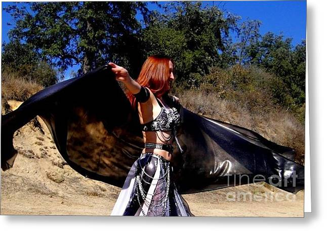 Queen Jewelry Greeting Cards - Sofia Metal Queen belly dance with 4 yard veil Greeting Card by Sofia Gothic Queen of Hell
