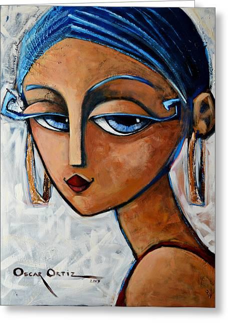 Eyelash Greeting Cards - Sofia Greeting Card by Oscar Ortiz