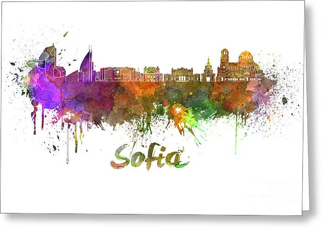 Bulgaria Paintings Greeting Cards - Sofia skyline in watercolor Greeting Card by Pablo Romero