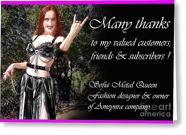 Queen Jewelry Greeting Cards - Sofia the Metal Queen. Thank you message to customers Greeting Card by Sofia Gothic Queen of Hell