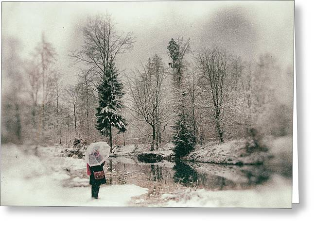 Soft And Dreamy Winter Landscape Wetplate Effect Greeting Card by Matthias Hauser