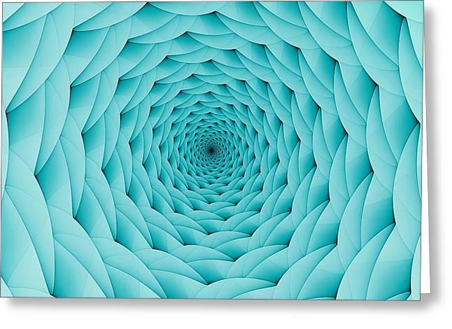 Babbling Digital Art Greeting Cards - Soft Aqua Vortex Greeting Card by Doug Morgan