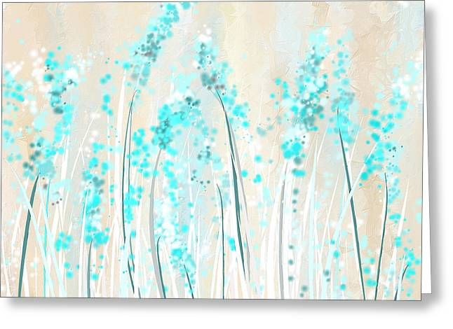 Blue Abstracts Greeting Cards - Soft Blues- Teal And Cream Art Greeting Card by Lourry Legarde