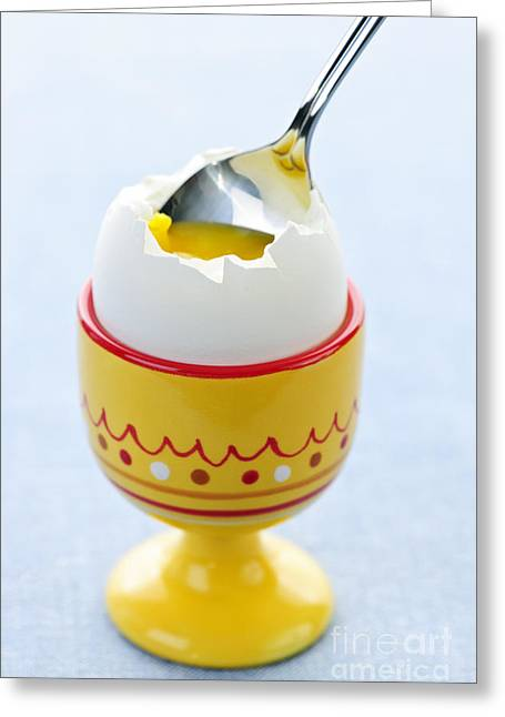 Cracked Egg Greeting Cards - Soft boiled egg in cup Greeting Card by Elena Elisseeva