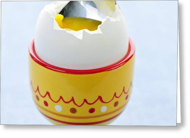 Soft boiled egg in cup Greeting Card by Elena Elisseeva
