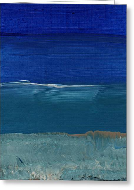 Wall Mixed Media Greeting Cards - Soft Crashing Waves- Abstract Landscape Greeting Card by Linda Woods