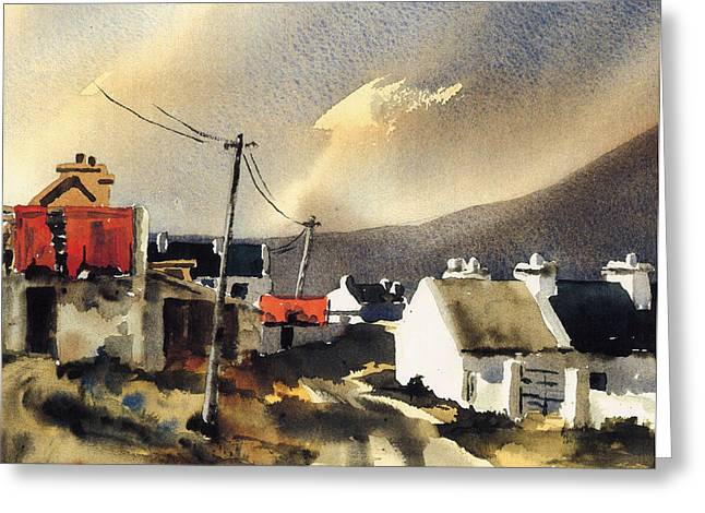 Val Byrne Greeting Cards - Soft Day in Achill Mayo Greeting Card by Val Byrne
