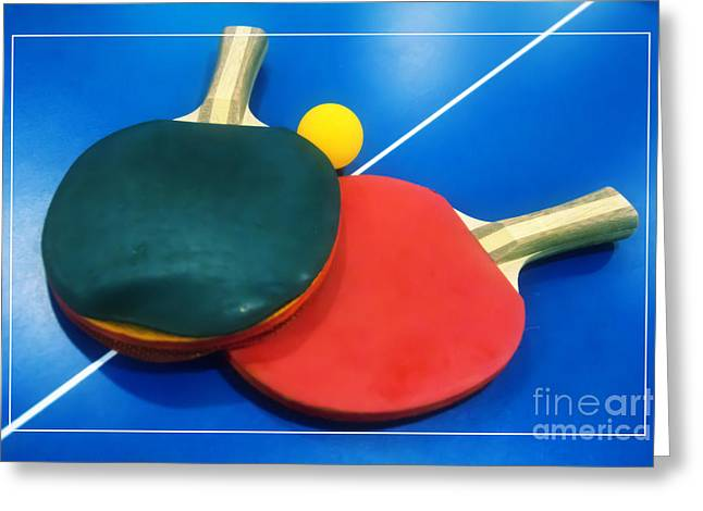 Table Tennis Racket Greeting Cards - Soft Dreamy Ping-pong Bats Table Tennis Paddles Rackets on Blue Greeting Card by Beverly Claire Kaiya
