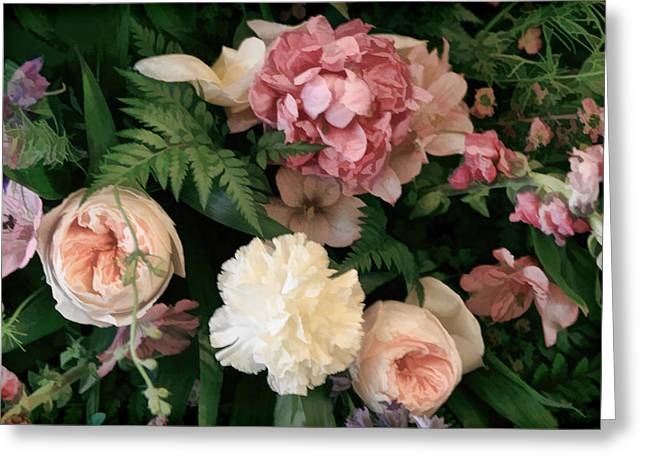 Soft Floral Bouquet In Pink Greeting Card by Linda Phelps