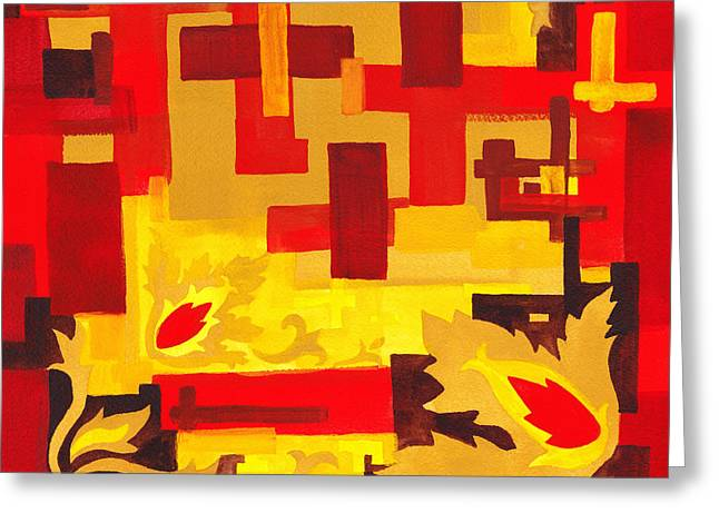 Yellow Line Greeting Cards - Soft Geometrics Abstract In Red And Yellow Impression I Greeting Card by Irina Sztukowski