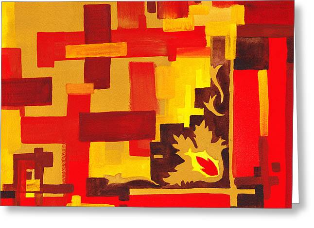 Yellow Line Greeting Cards - Soft Geometrics Abstract In Red And Yellow Impression II Greeting Card by Irina Sztukowski