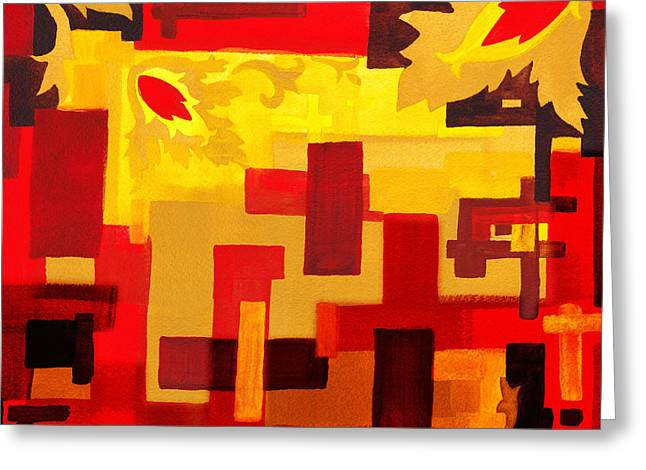 Yellow Line Greeting Cards - Soft Geometrics Abstract In Red And Yellow Impression III Greeting Card by Irina Sztukowski