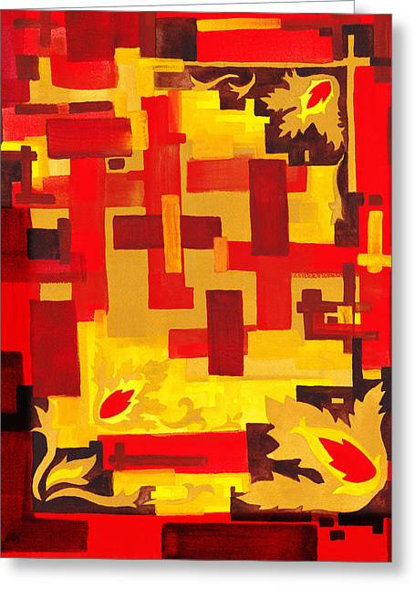 Yellow Line Greeting Cards - Soft Geometrics Abstract In Red And Yellow Impression IV Greeting Card by Irina Sztukowski